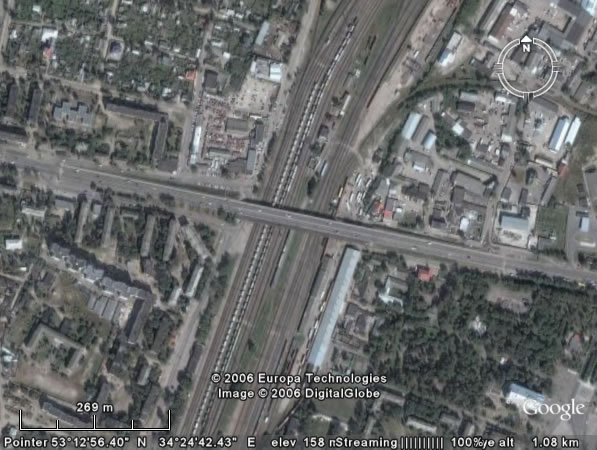 Google Earth Брянск: мост через ж/д пути, железнодорожный вокзал Брянск-2