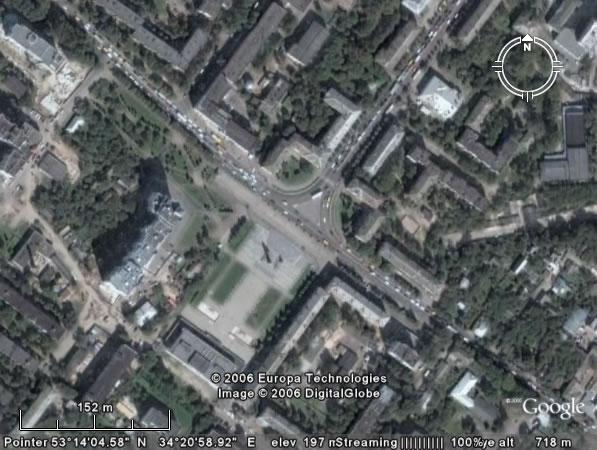 Google Earth Брянск: Площадь Партизан
